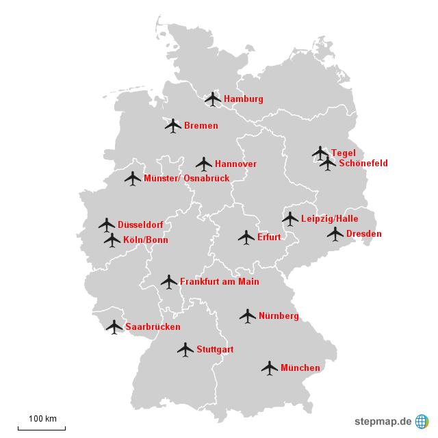 Flughäfen Deutschland Karte.Stepmap Internationale Flughäfen In Deutschland Landkarte Für