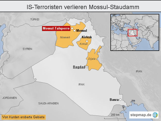 mossul karte IS Terroristen verlieren Mossul Staudamm von heuteonline