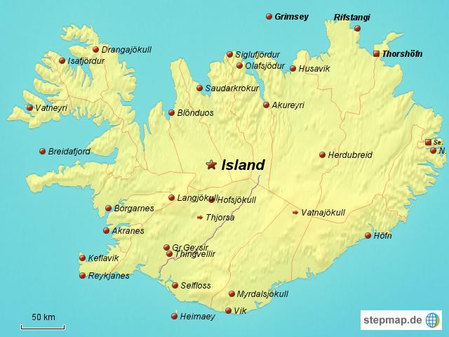 Landkarte Für Island