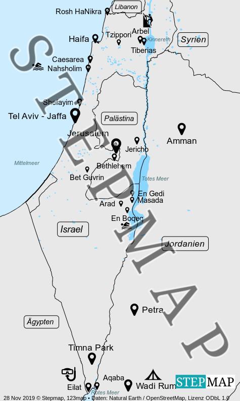 Landkarte: Israel