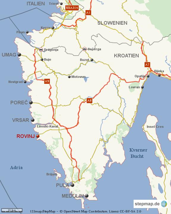 istrien rovinj karte Istrien Rovinj fertig von wagnertennis   Landkarte für die Welt