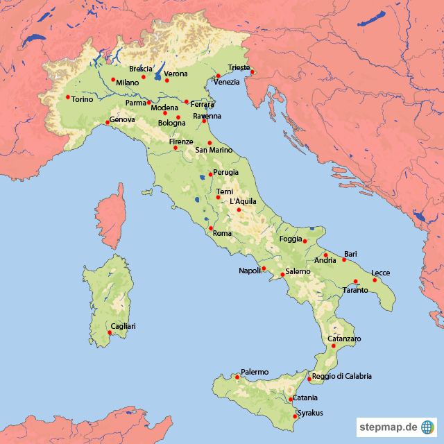 italien karte mit städten Karte Italien Mit Städten | Kleve Landkarte