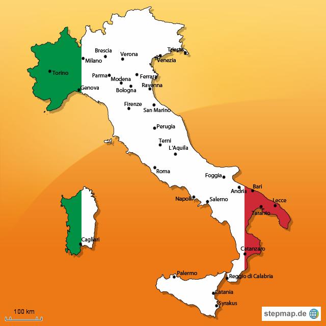italien karte von ninaa - Landkarte für Italien