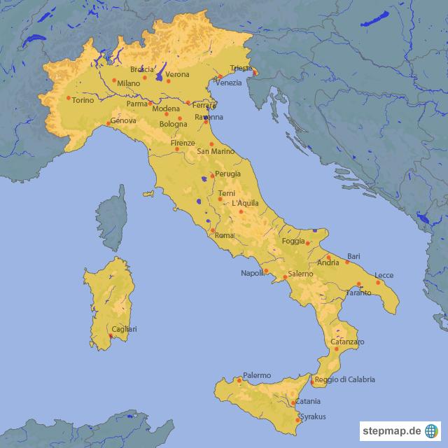 Italien Landkarte von Crazyrooms - Landkarte für Italien