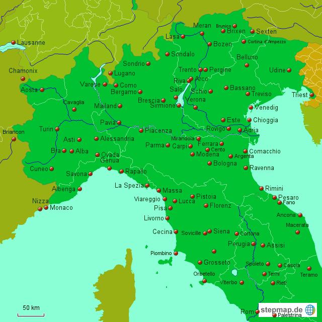 Norditalien Karte.Karte Italien Nord Kleve Landkarte