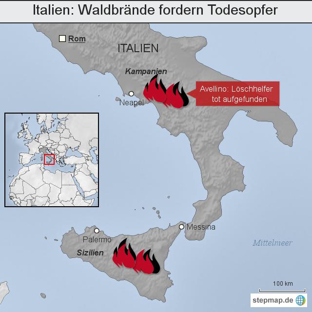 waldbrände italien karte Italien: Waldbrände fordern Todesopfer von madsack online