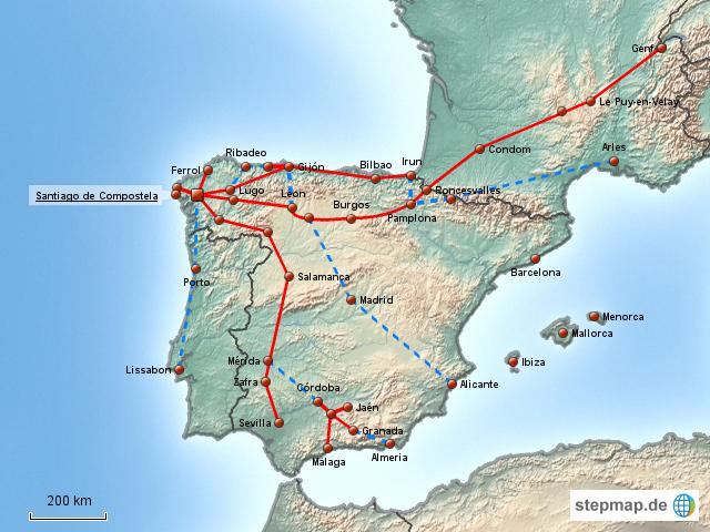 Jakobsweg Spanien Karte.Jakobsweg Karte Spanien Kleve Landkarte