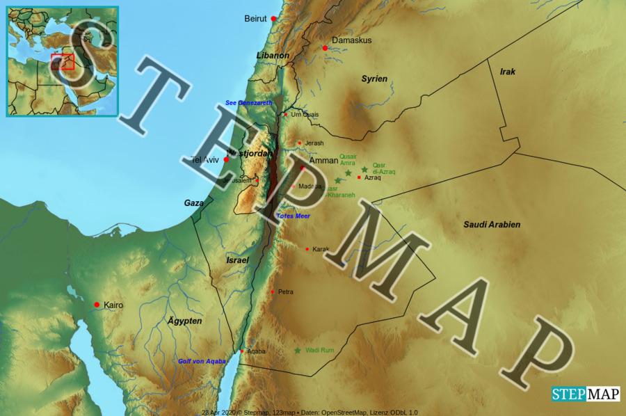 Landkarte: Jordanien