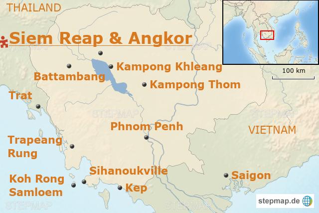 Kambodscha Karte.Kambodscha Baustein Atmospharisches Angkor Wat Von
