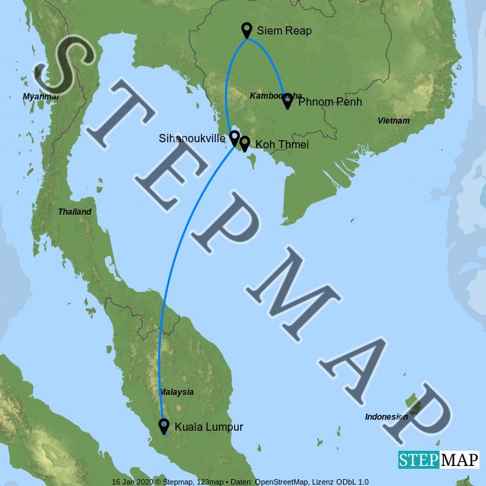 Landkarte: Kambodscha-Ferien