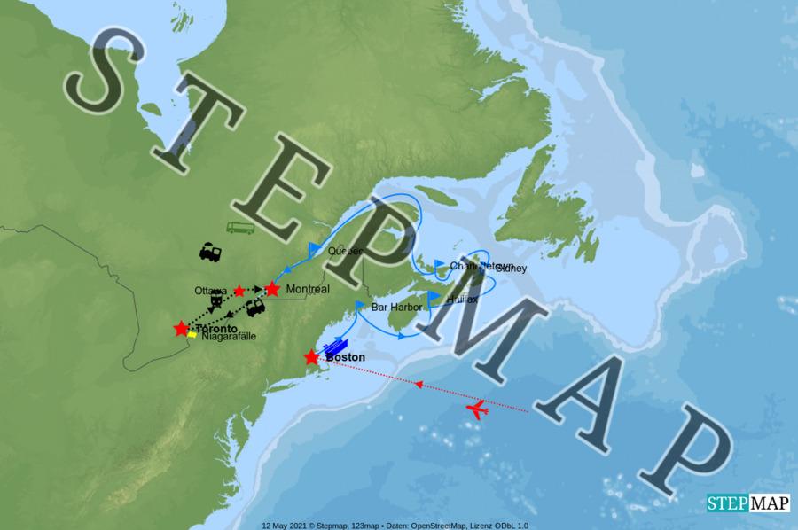 Landkarte: Kanada Ost