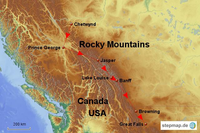 rocky mountains karte Kanadische Rocky Mountains von schoenereise   Landkarte für