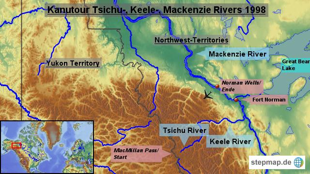 Welt nordamerika nordamerika karten kanutour keele river 1998