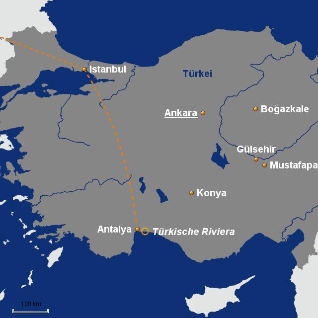 Karte Türkei Kappadokien.Kappadokien Von Alpetour Landkarte Für Die Türkei