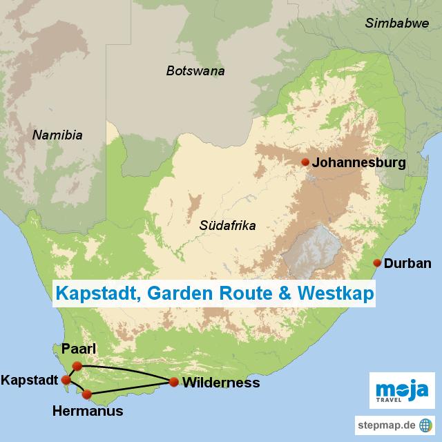 kapstadt garden route westkap s von moja landkarte With katzennetz balkon mit kapstadt und garden route