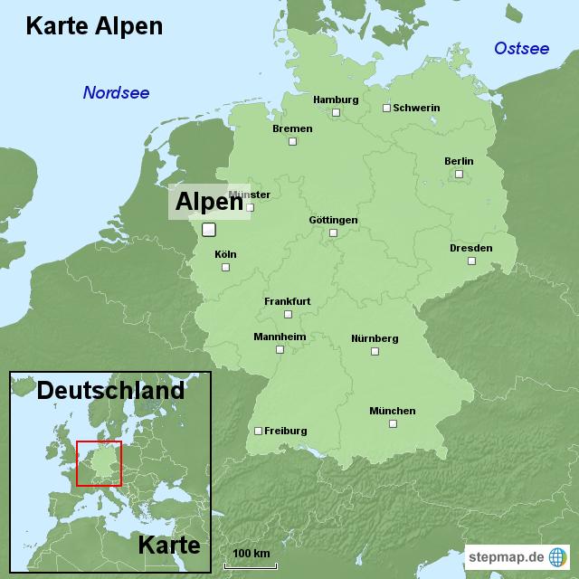 alpen karte deutschland Karte Alpen von ortslagekarte   Landkarte für Deutschland