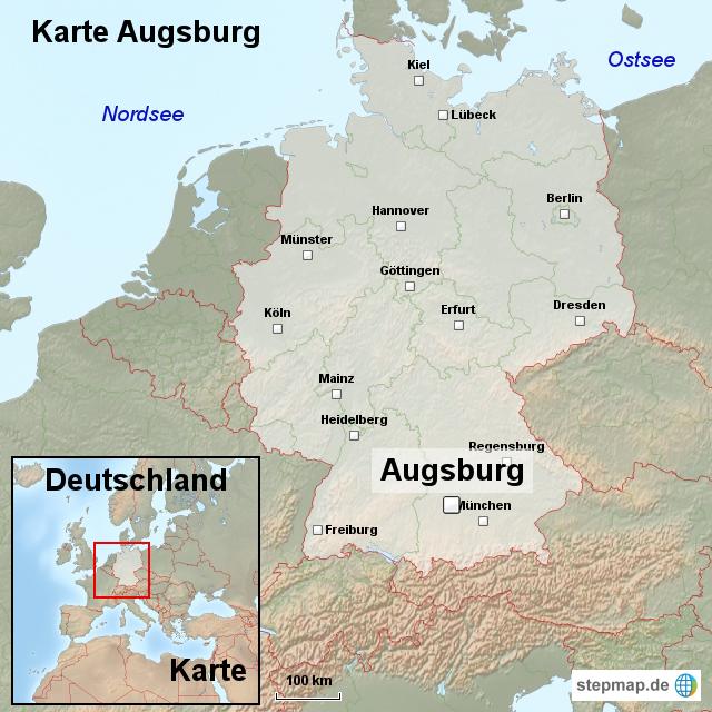 karte augsburg von ortslagekarte landkarte f r deutschland. Black Bedroom Furniture Sets. Home Design Ideas