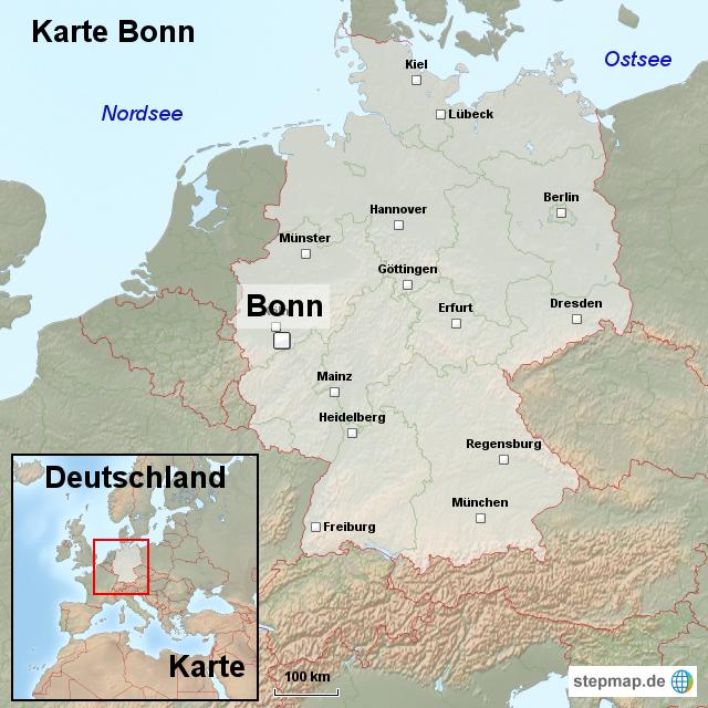 karte bonn von ortslagekarte landkarte f r deutschland. Black Bedroom Furniture Sets. Home Design Ideas