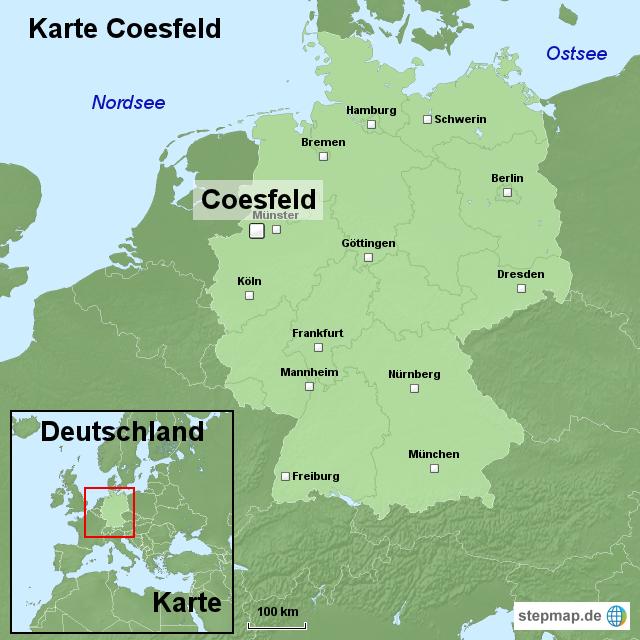 karte coesfeld von ortslagekarte landkarte f r deutschland. Black Bedroom Furniture Sets. Home Design Ideas