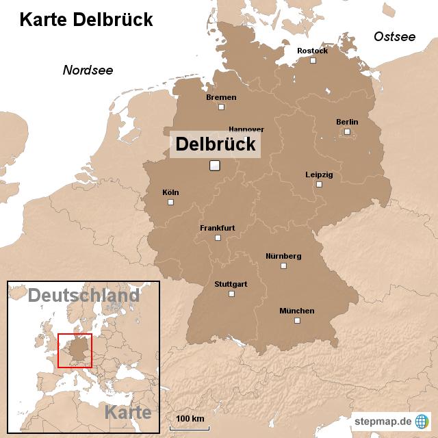 karte delbr ck von ortslagekarte landkarte f r deutschland. Black Bedroom Furniture Sets. Home Design Ideas
