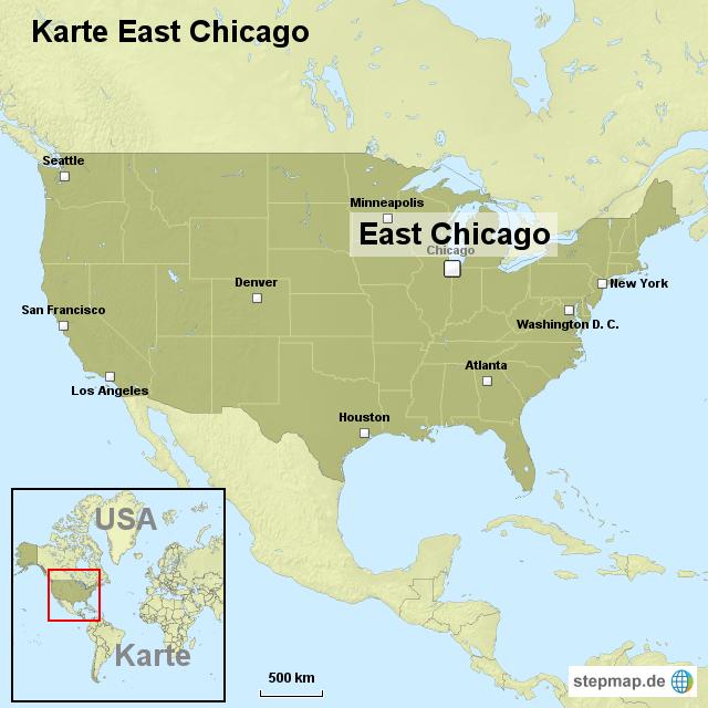 chicago karte Karte East Chicago von ortslagekarte usa   Landkarte für die USA