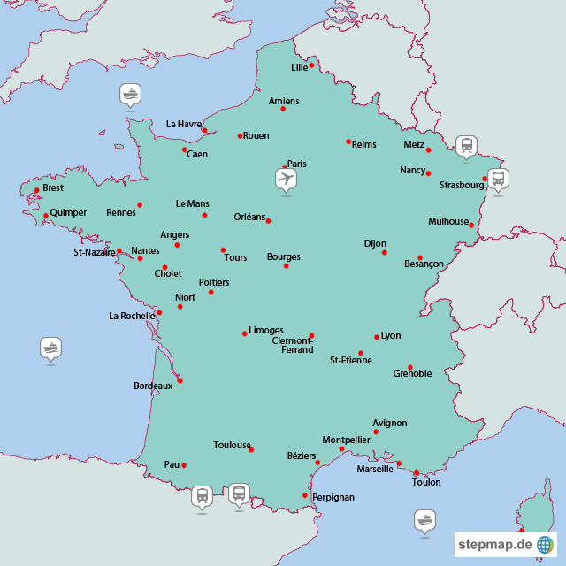 Karte Frankreich von oedland - Landkarte für Frankreich
