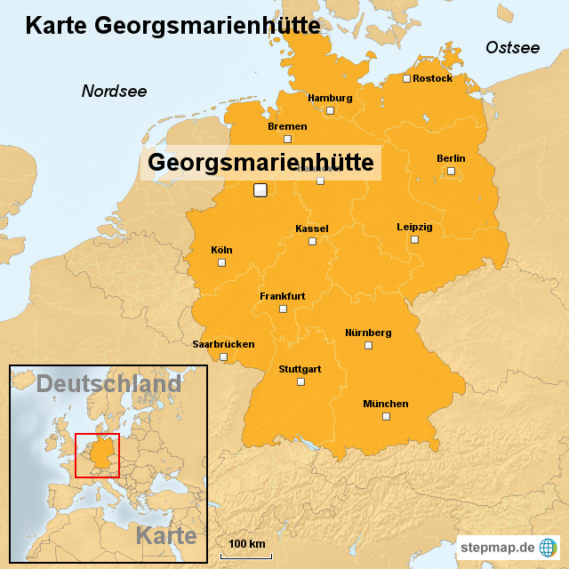 karte georgsmarienh tte von ortslagekarte landkarte f r deutschland. Black Bedroom Furniture Sets. Home Design Ideas