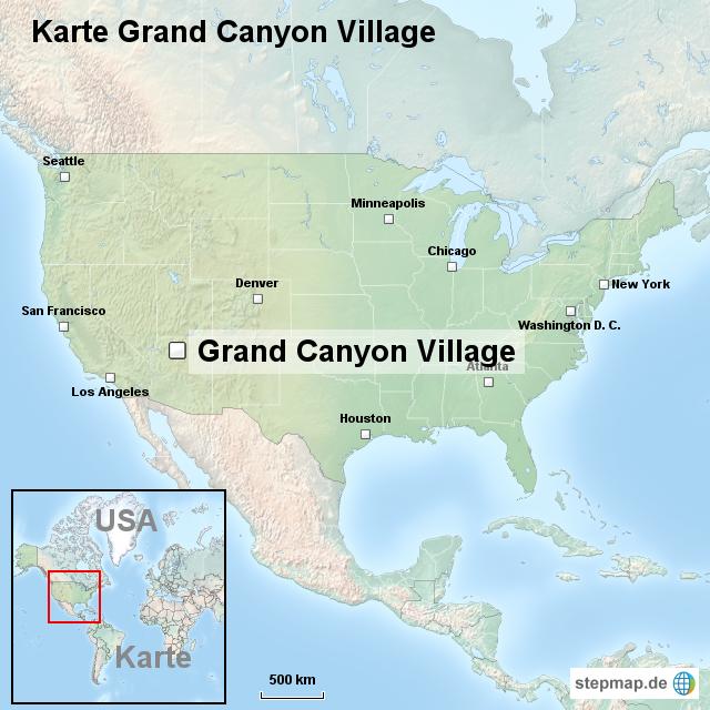 Karte Grand Canyon Village von ortslagekarte-usa - Landkarte für die USA