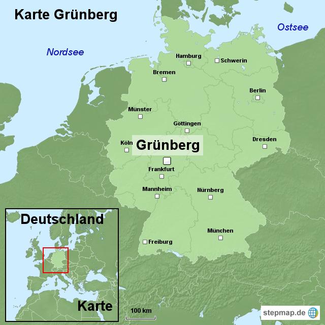 Karte Grünberg von ortslagekarte - Landkarte für Deutschland