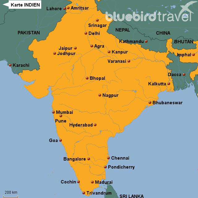 Karte INDIEN von BLUEBIRD-TRAVEL - Landkarte für Indien