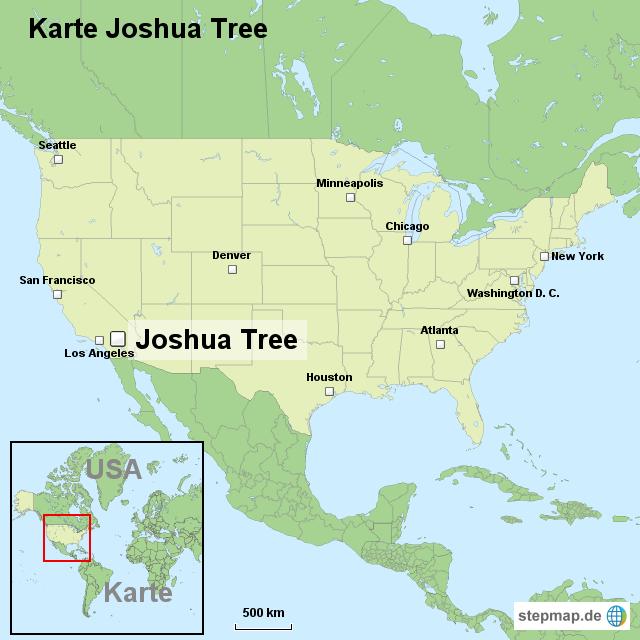 Karte Joshua Tree von ortslagekarte-usa - Landkarte für die USA