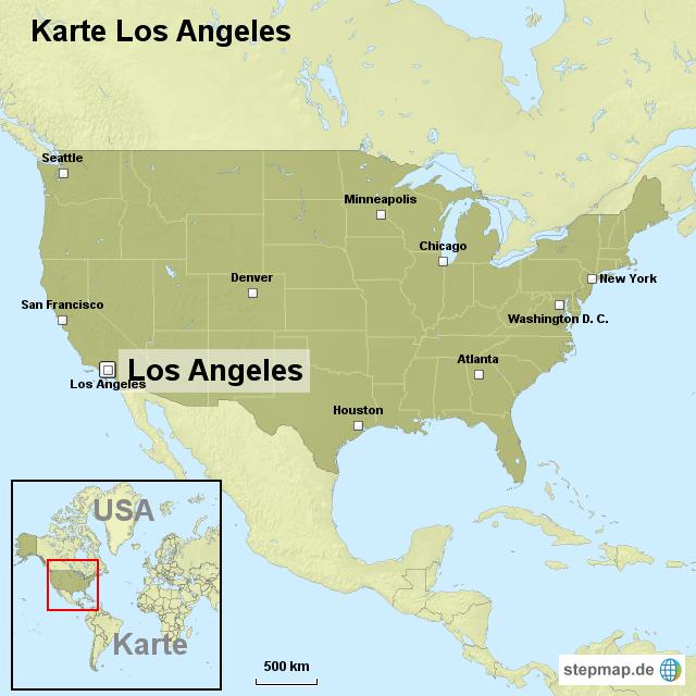 los angeles karte Karte Los Angeles von ortslagekarte usa   Landkarte für die USA