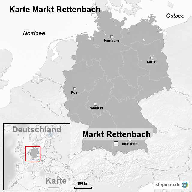 karte markt rettenbach von ortslagekarte landkarte f r deutschland. Black Bedroom Furniture Sets. Home Design Ideas