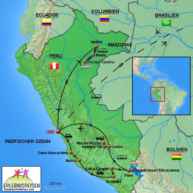 Peru Karte.Karte Peru Von Erlebnisreisen Landkarte Für Südamerika