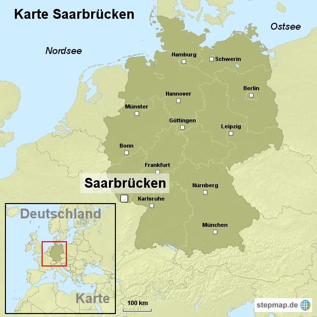 saarbrücken karte Karte Saarbrücken von ortslagekarte   Landkarte für Deutschland