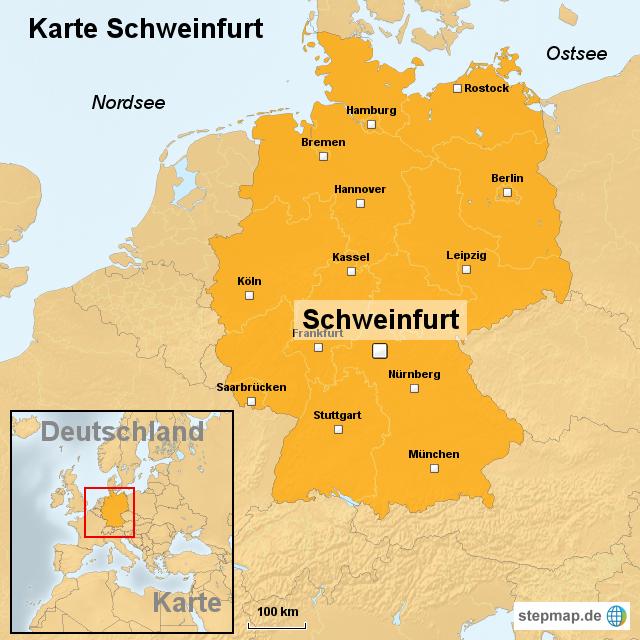 karte schweinfurt von ortslagekarte landkarte f r deutschland. Black Bedroom Furniture Sets. Home Design Ideas