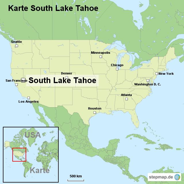 Karte South Lake Tahoe von ortslagekarte-usa - Landkarte für die USA