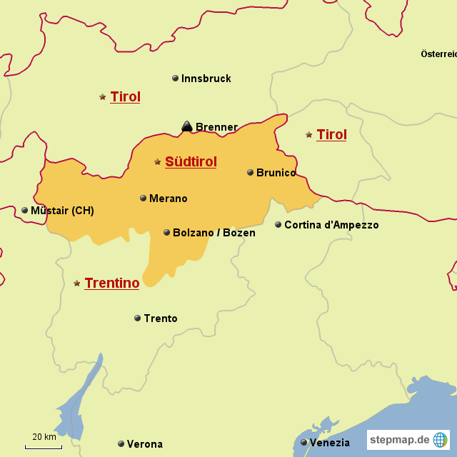 landkarte südtirol Karte Südtirol von RaffaelN   Landkarte für Deutschland landkarte südtirol
