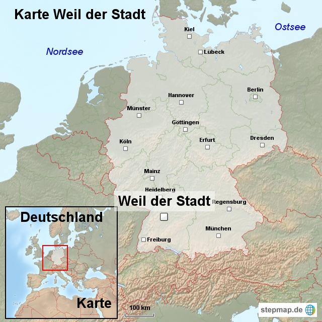 karte weil der stadt von ortslagekarte landkarte f r deutschland. Black Bedroom Furniture Sets. Home Design Ideas