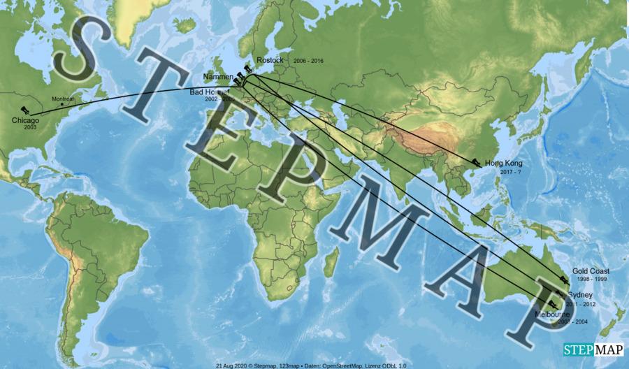 Landkarte: Katharinas Weltreise