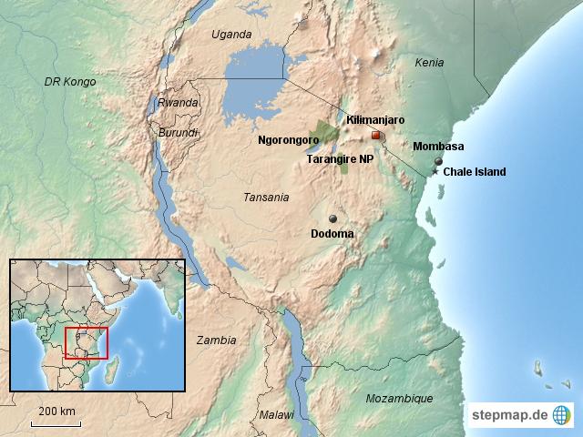 Kilimanjaro Von Irisw Landkarte Fur Afrika