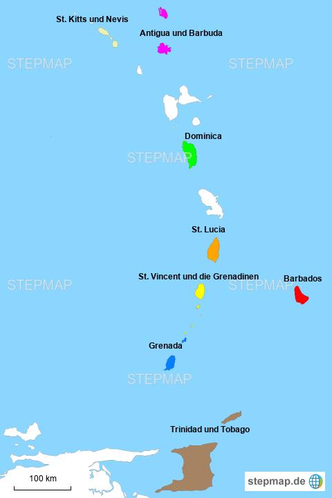 Kleine Antillen Karte.Stepmap Kleine Antillen Lander Landkarte Fur Nordamerika