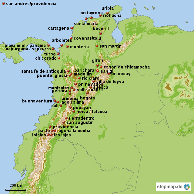kolumbien von schettyumdiewelt  Landkarte fr Kolumbien