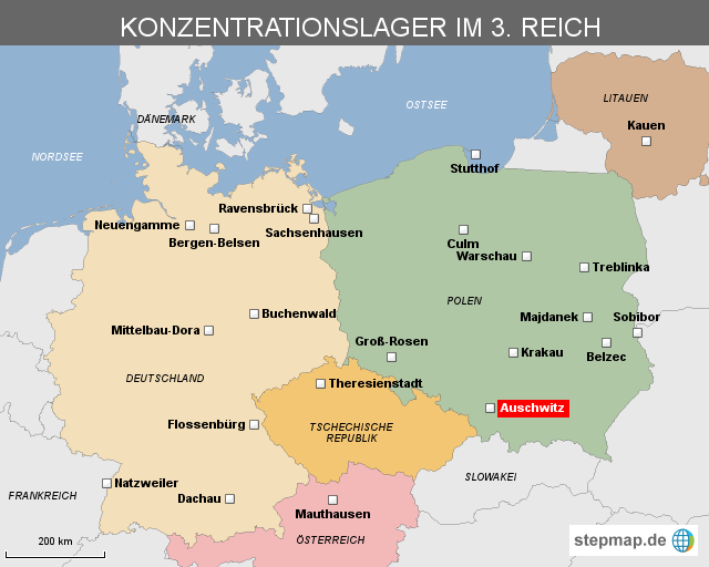 konzentrationslager karte Konzentrationslager im 3. Reich von heuteonline   Landkarte für
