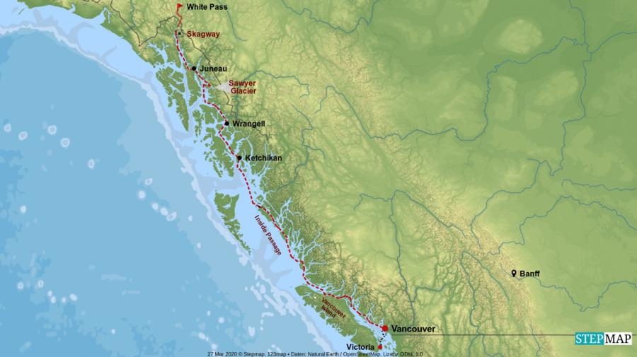 Landkarte: Kreuzfahrt durch die Inside Passage