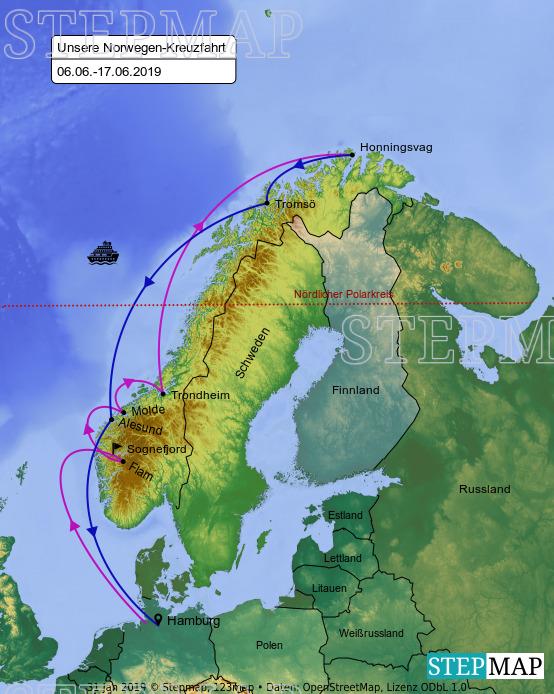 Landkarte: Kreuzfahrt Norwegen