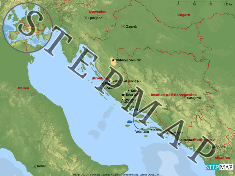 Landkarte: Kroatien