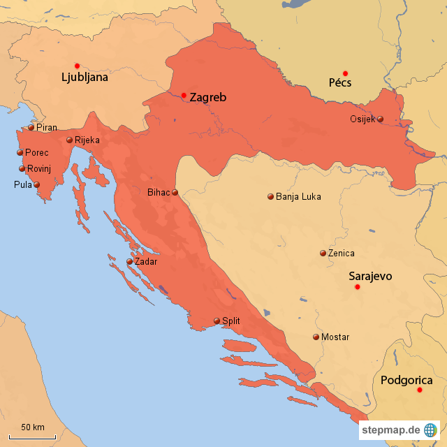 landkarte bosnien kroatien my blog. Black Bedroom Furniture Sets. Home Design Ideas