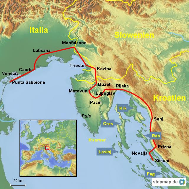 karte von istrien kroatien kleve landkarte