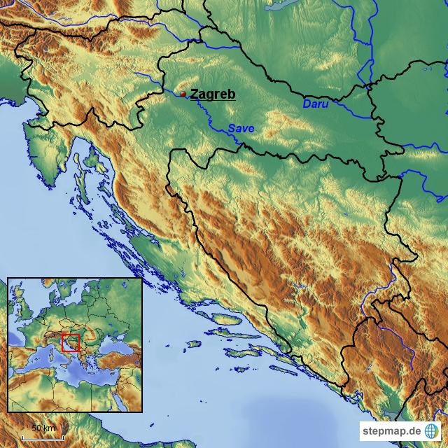 physische karte Kroatien physische Karte von YueNaito   Landkarte für Südosteuropa
